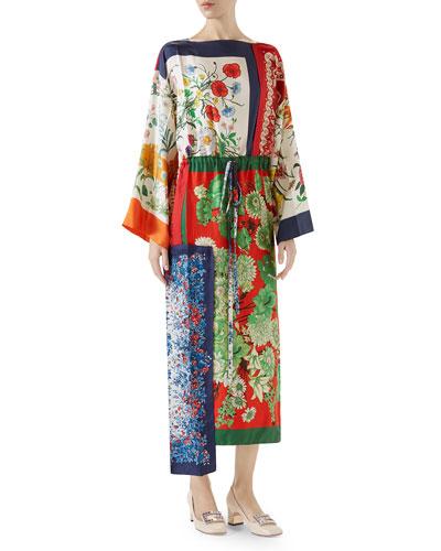 Long-Sleeve Multipattern Floral-Print Patchwork Silk Caftan with Uneven Hem