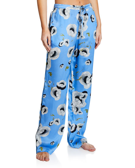 Image 1 of 1: Floral-Print Silk Pajama Pants