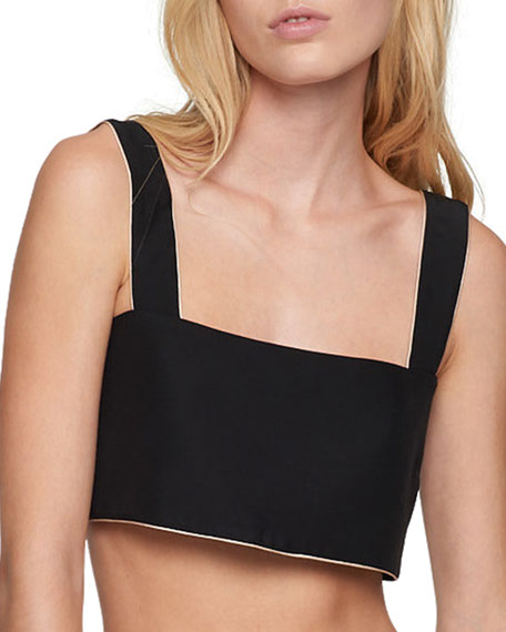 Amour Contrast-Piping Crop Top