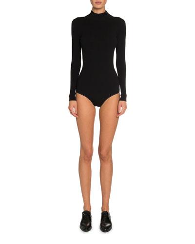 Wool Long-Sleeve Turtleneck Bodysuit