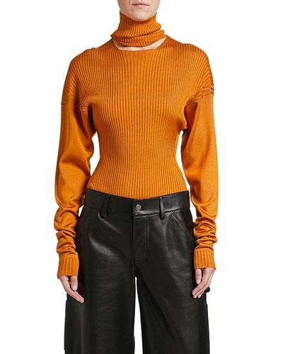 Ribbed Silk Turtleneck Bodysuit