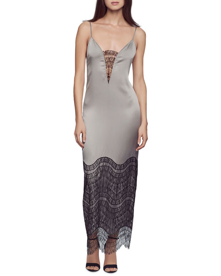 Lace-Inset Silk Gown