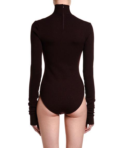 Stretch Wool Open-Neck Bodysuit