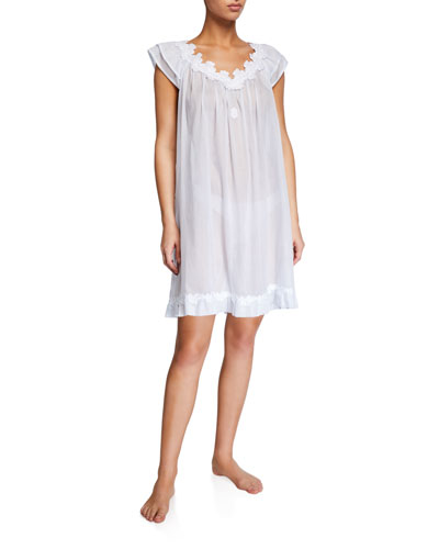 Palace Cap-Sleeve Mousseline Nightgown