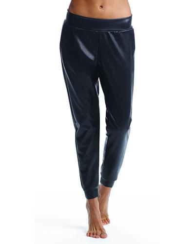 Faux-Leather Jogger Pants
