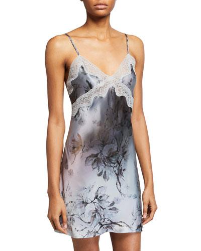 Floral-Print Classic Lace-Trim Chemise