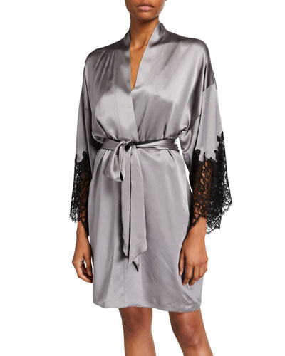 Diva Lace-Trim Silk Robe