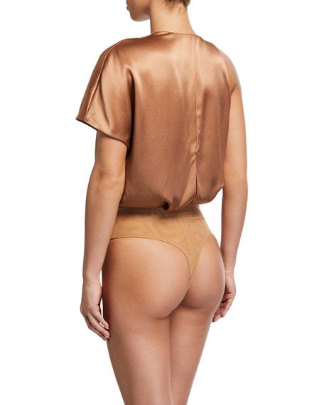 Double-Charmeuse One-Shoulder Bodysuit