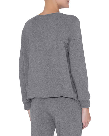 Odile Piped Long-Sleeve Lounge Top