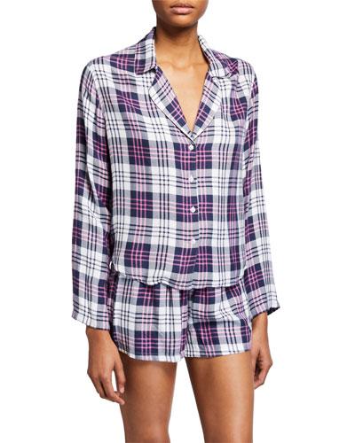 Kellen Plaid Long-Sleeve Shortie Pajama Set