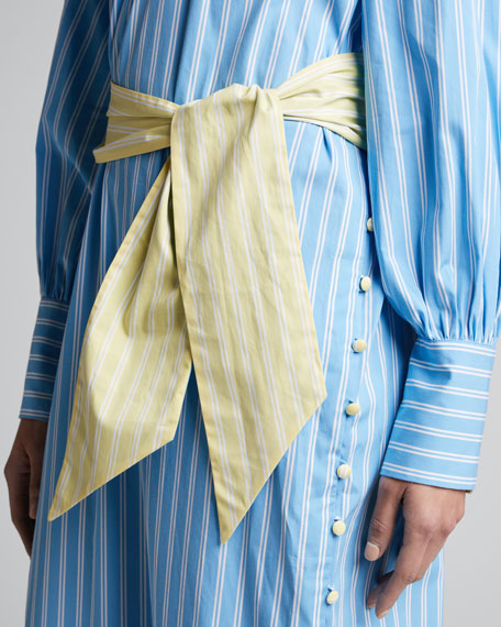 Heather Striped Tie-Waist Caftan