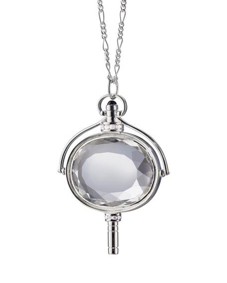 Large Silver Pocket Watch Key Rock Crystal Necklace