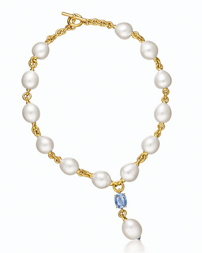 South Sea Pearl & Sapphire Y Necklace