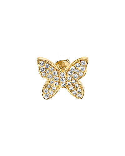 14k Diamond Butterfly Single Stud Earring