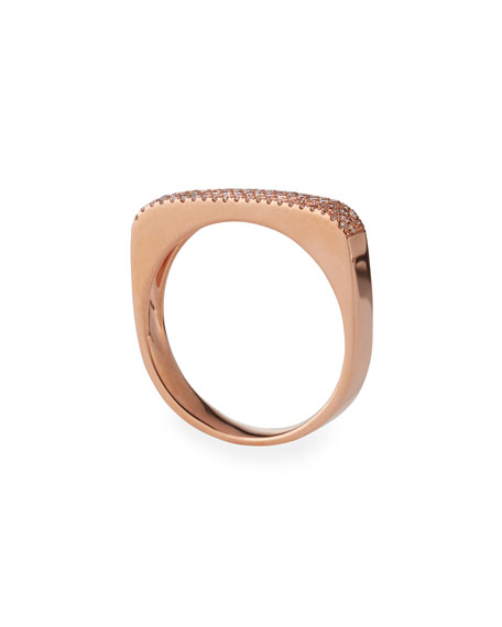 14K Gold Jumbo Bar Ring with Diamonds
