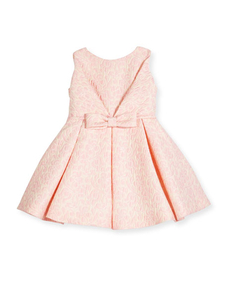 Sleeveless Pleated Jacquard Fit-and-Flare Dress, Pink, Size 7-14