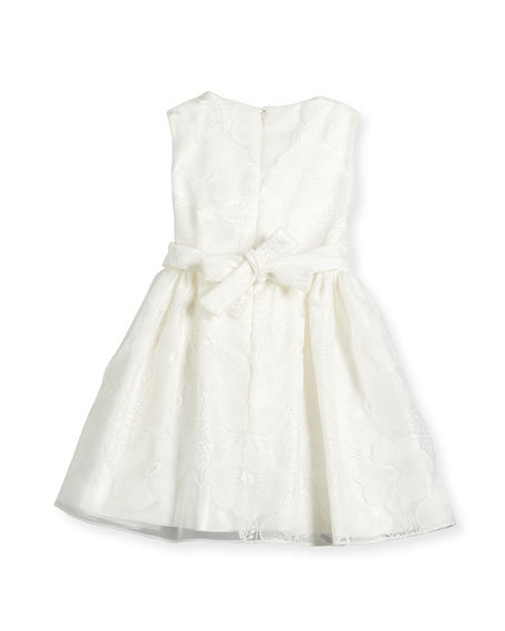 Sleeveless Floral Tulle A-Line Dress, White, Size 7-14