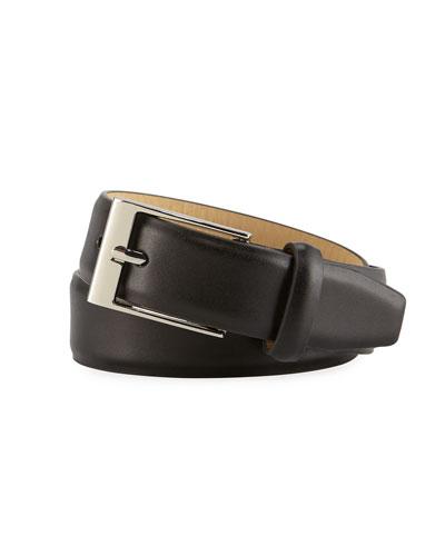Boys' Faux-Leather Dress Belt  Black  S-L