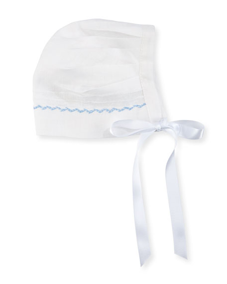 Image 1 of 1: Joseph Linen Embroidered Bonnet, Size 3-24 Months