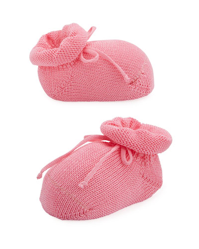 Basic Cotton Bootie w/ Bow  Medium Pink  Baby