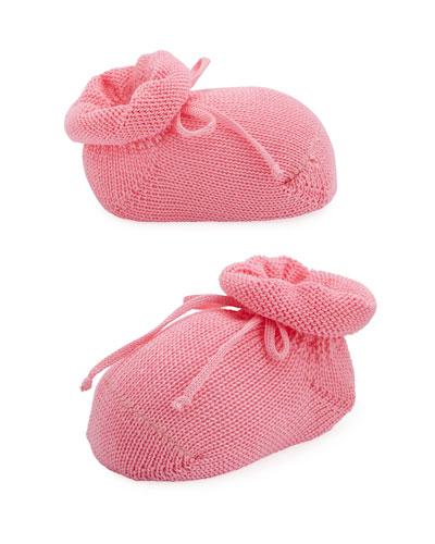 Basic Cotton Bootie w/ Bow  Medium Pink  Baby
