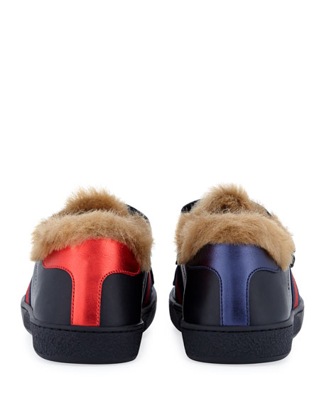 New Ace Web-Trim Leather Sneakers w/ Faux Fur Lining, Kids