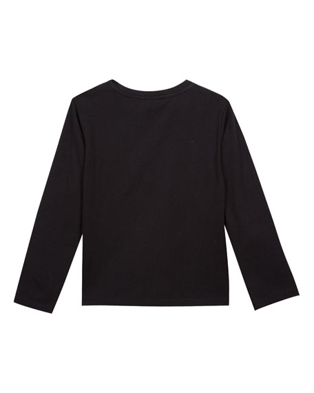 Metallic Tiger Face Icon Long-Sleeve T-Shirt, Size 8-12