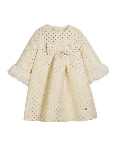 Metallic Polka-Dot Long-Sleeve Dress w/ Faux Fur Cuffs  Size 4-10