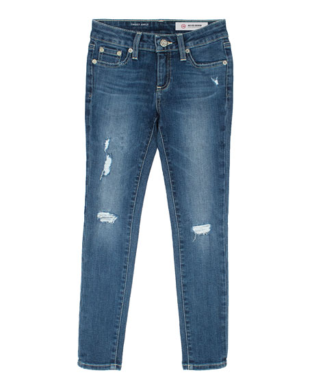Girls' Twiggy Swamp Meet Distressed Ankle Cropped Jeans, Size 4-6X