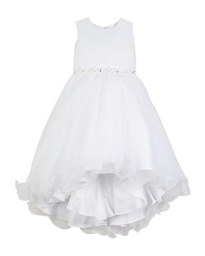 Diagonal Sheer Top Dress w/ Rhinestone Embellishment  Size 4-14