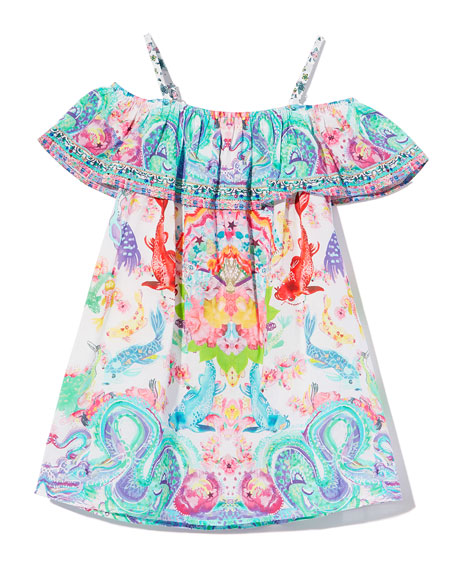 Ruffle-Trim Dragon & Koi Fish Print Dress, Size 4-10