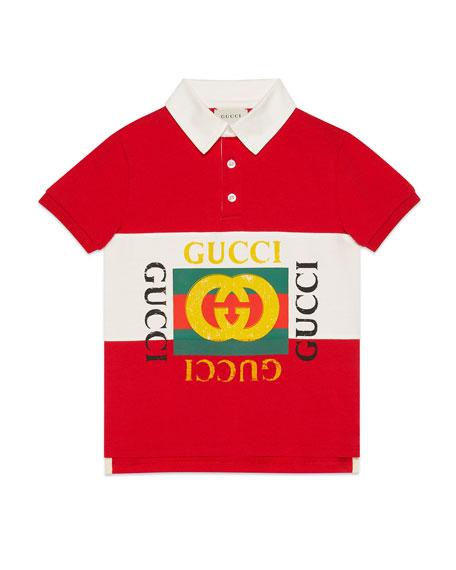 Striped Collared Logo Shirt, Size 4-12