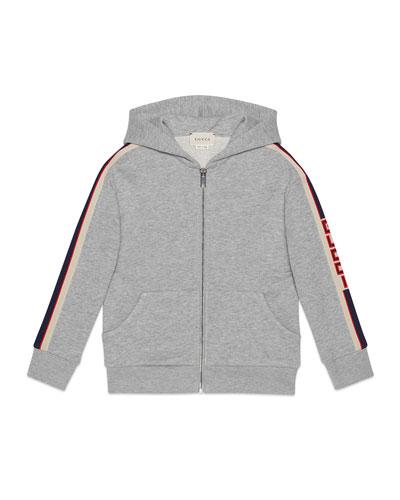 Zip-Up Hooded Jacket w/ Logo Taping  Size 4-12