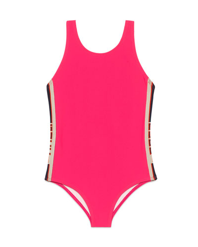Solid One-Piece Swimsuit w/ Logo Sides  Size 4-12