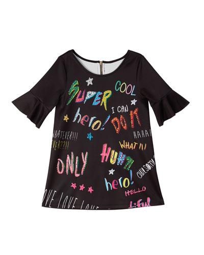 Bell-Sleeve Graffiti-Print Scuba Dress  Size 7-14