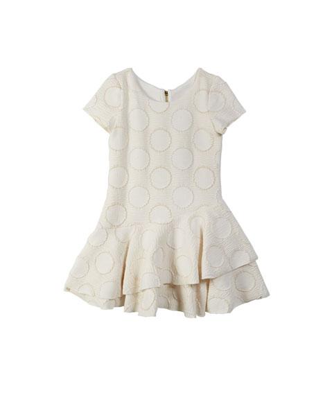 Zoe Halo Circle Metallic Knit Flounce-Hem Dress, Size