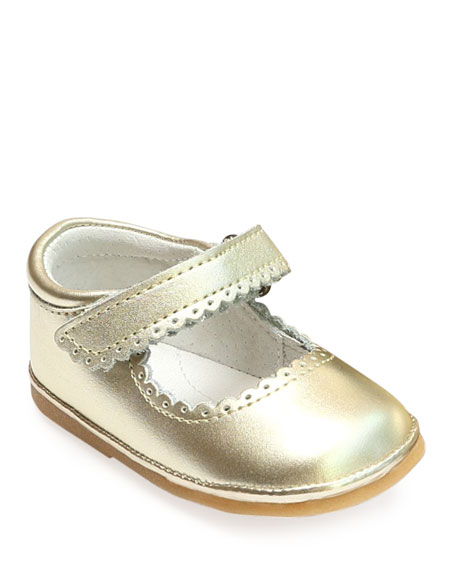 Cara Scalloped Metallic Leather Mary Jane, Baby