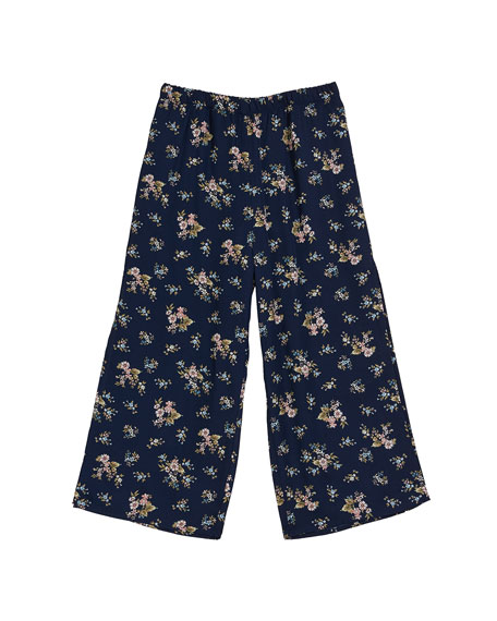 Floral Wide Leg Pants, Size 7-16
