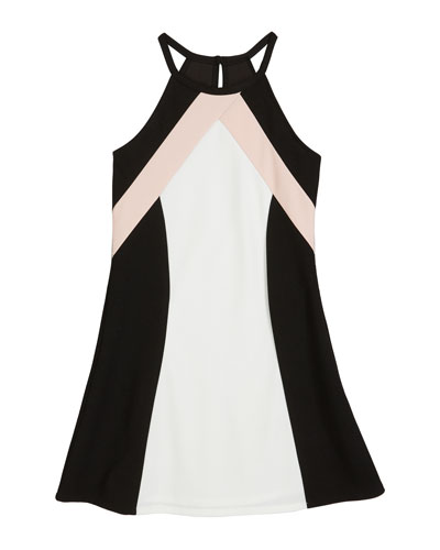 The Hope Colorblock Techno Crepe Halter Dress  Size S-XL