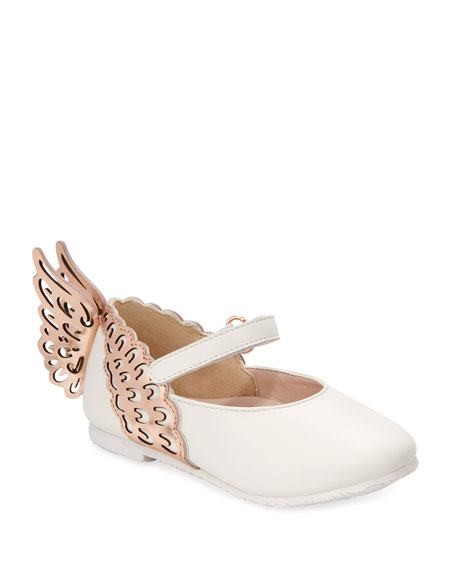 Image 1 of 1: Evangeline Leather Butterfly-Wing Flats, Baby/Toddler