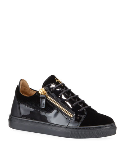 London Patent Leather & Velvet Low-Top Sneakers  Baby/Toddler