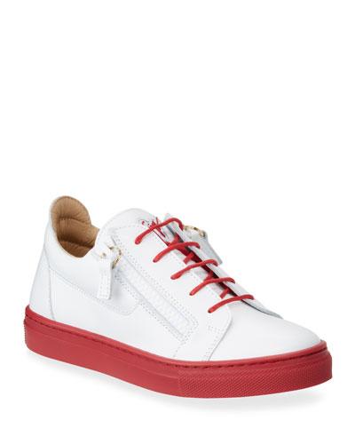 Contrast-Heel Leather Low-Top Sneakers  Toddler/Kids