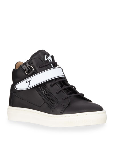 London Leather Grip-Strap High-Top Sneakers  Baby/Toddler/Kids