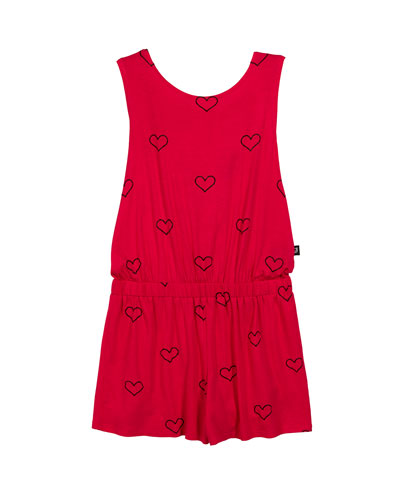 Outline Hearts Foil-Print Romper  Size 7-16