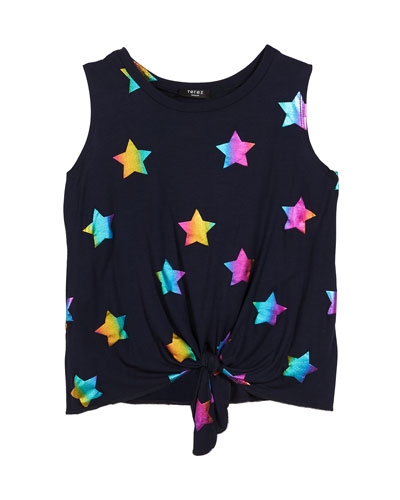 Rainbow Star Foil-Print Tie-Front Tank Top  Size 7-16