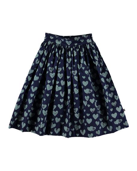 Brittany Heart Print Woven Midi Skirt, Size 5-16