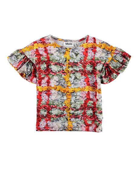 Rayah Floral Print Tee w/ Ruffle Sleeves, Size 3-12