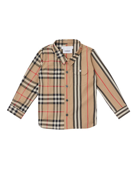 Amir Icon Stripe & Check Button-Down Shirt, Size 6M-2
