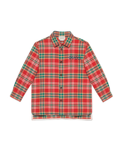 Plaid Button Up Shirt w/ Logo Embroidery  Size 4-12