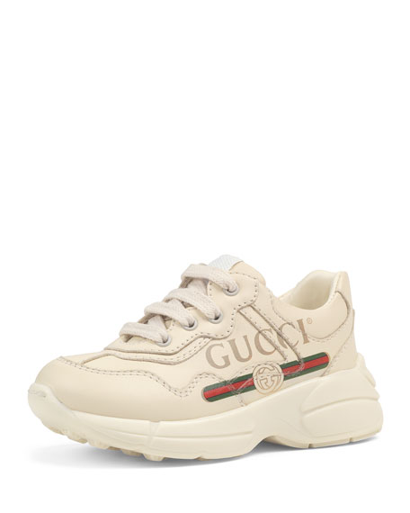 Gucci Logo Leather Sneakers, Baby/Toddler